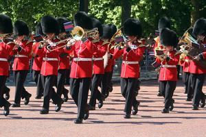 Band marching down the Mall at Trooping the Colour parade by Associated Newspapers