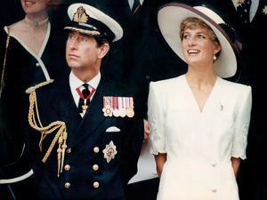 Prince Charles with Princess Diana at British forces homecoming by Associated Newspapers