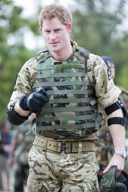 Prince Harry in uniform  in Jamaica by Associated Newspapers