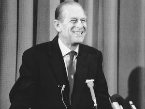 Prince Philip giving a lecture at Hudson Bay House by Associated Newspapers