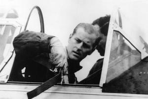 Prince Philip in the cockpit of an aircraft by Associated Newspapers