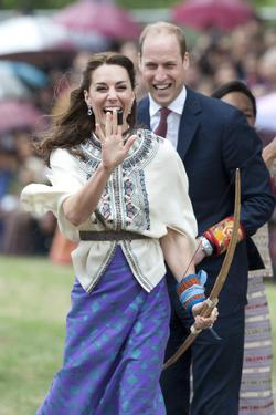 Prince William and Kate, Laughing Trying Archery in Bhutan by Associated Newspapers