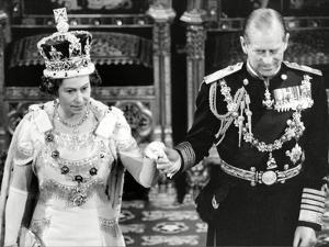 Queen Elizabeth II and Prince Philip at State Opening of Parliament by Associated Newspapers