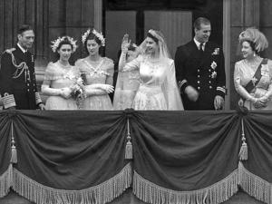 Queen Elizabeth II Wedding, family group on balcony by Associated Newspapers