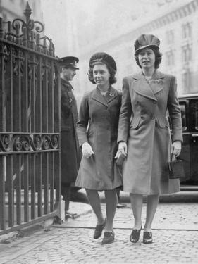 Queen Elizabeth II  (when Princess Elizabeth) and Princess Margaret in 1944 by Associated Newspapers