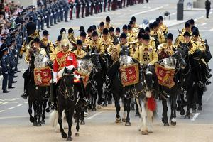 Royal Household Cavalry in Whitehall by Associated Newspapers