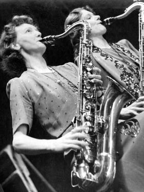 Saxophonists in Miss Gayes Band by Associated Newspapers
