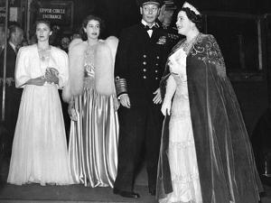 The Queen Mother with her family at Royal Command Performance by Associated Newspapers