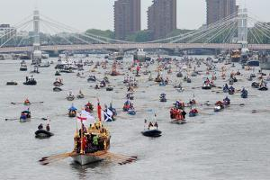The Royal Barge Gloriana leads the Diamond Jubilee Thames River Pageant by Associated Newspapers