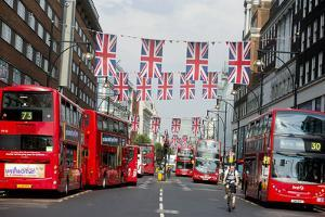 Union Jack Flags on Oxford Street, London by Associated Newspapers