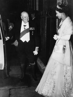 Winston Churchill with Queen Elizabeth II 1955 by Associated Newspapers