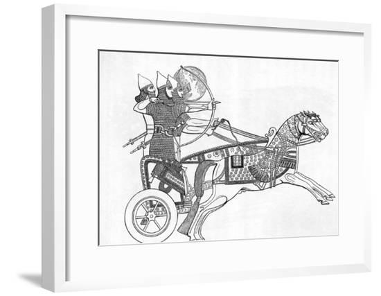 Assyrian Warriors in Chariot; Bow/Arrow--Framed Giclee Print