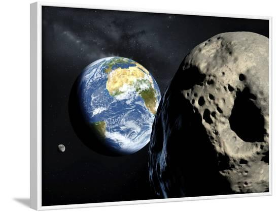 Asteroid Approaching Earth--Framed Photographic Print