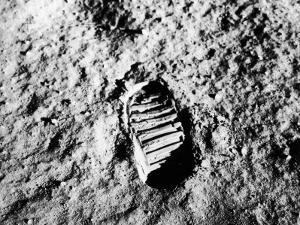 Astronaut Buzz Aldrin's Footprint in Lunar Soil During Apollo 11 Lunar Mission