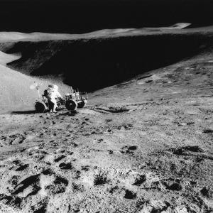 Astronaut David Scott (B193) on the Slope of Hadley Delta During Apollo 15, 1971