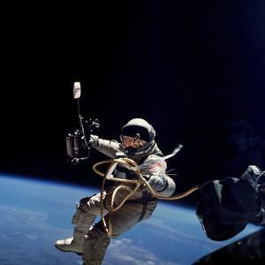 Astronaut Edward White Floating Weightless During the First US Spacewalk, June 3, 1965