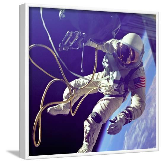 Astronaut Edward White, the First American to Walk in Space on June 3 1965--Framed Photographic Print