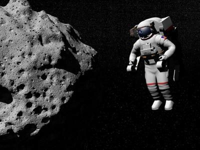 Astronaut Exploring an Asteroid in Outer Space