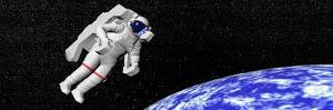 Astronaut Floating in Outer Space Above Planet Earth