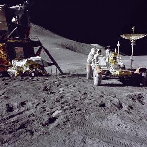 Astronaut James Irwin Loads the Lunar Roving Vehicle at the Hadley-Apennine Landing Site, 1971