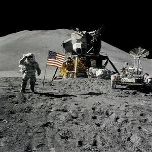 Astronaut Jim Irwin Saluting the American Flag During the Apollo 15 Mission, 1971