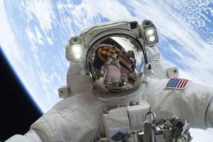 Astronaut Participates in a Spacewalk