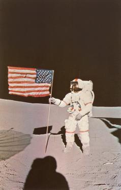 Astronaut with Flag on Moon
