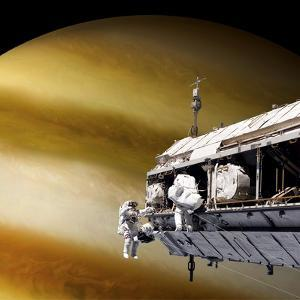 Astronauts Performing Work on a Space Station While Orbiting a Large Alien Planet