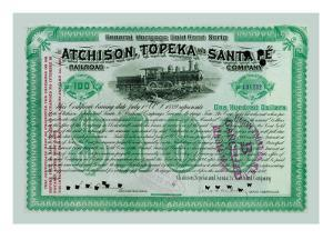 Atchison, Topeka and Santa Fe Stock Certificate