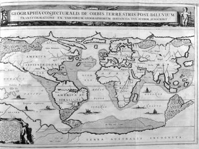 Geographic Chart of the World after the Deluge, 1675 by Athanasius Kircher