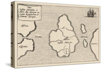 Map of Atlantis Showing Position Relative to Europe Africa and America by Athanasius Kircher