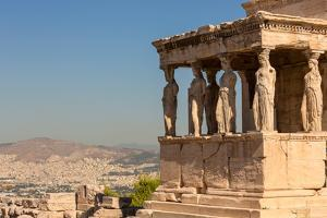 Athens, Attica, Greece. Porch of the Caryatids on the south end of the Erechtheion on the Acropo...