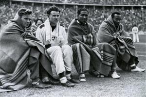 Athletes Frank Wykoff, Paul Hanni, Ralph Metcalfe and Jesse Owens, Berlin Olympics, 1936