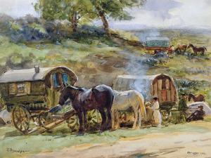 Gypsy Encampment, Appleby, 1919 by Atkinson