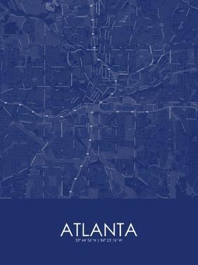Atlanta, United States of America Blue Map