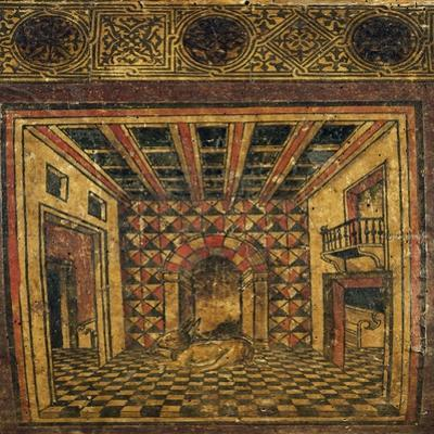 Atrium of House, Front of Wood Box Covered in Woodcut Paper, Made in Lombardy, Italy