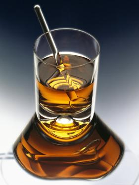 Glass of Liquor with Glass Stick by ATU Studios