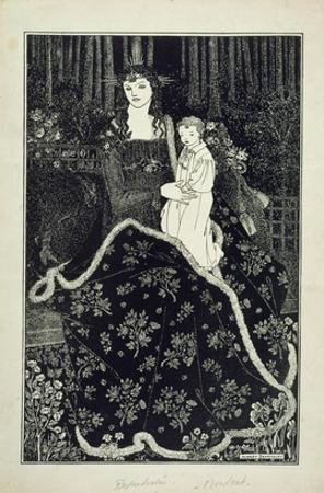 A Large Christmas Card, 1895 (Line Block Print) by Aubrey Beardsley