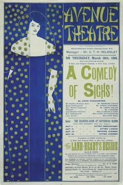 Avenue Theater, a Comedy of Sighs!, 1894 by Aubrey Beardsley