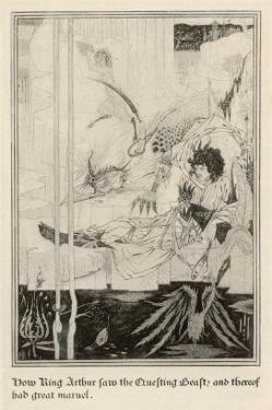 How King Arthur Saw the Questing Beast and Thereof Had Great Marvel by Aubrey Beardsley