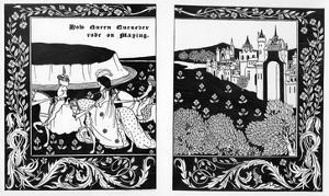 How Queen Guenever Rode on Maying, Illustration from 'Le Morte D'Arthur' by Thomas Malory, 1894 by Aubrey Beardsley