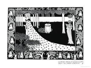 "La Beale Isoud at Joyous Gard, Illustration from ""Le Morte D'Arthur,"" Published 1894 by Aubrey Beardsley"