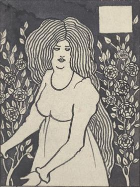 Long-haired Woman in Front of Tall Rosebushes by Aubrey Beardsley