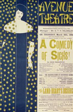 Poster Advertising A Comedy of Sighs, a Play by John Todhunter, 1894 by Aubrey Beardsley