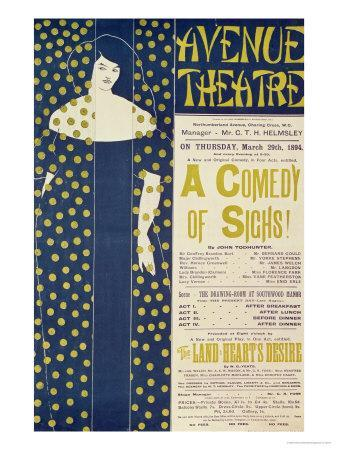 Poster Advertising A Comedy of Sighs, a Play by John Todhunter, 1894