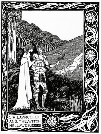 """Sir Launcelot and the Witch Hellawes"" 1870 by Aubrey Beardsley"