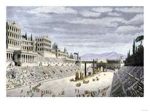 Audience Cheering Charioteersin the Circus Maximus, Ancient Rome
