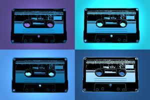 Audio Cassette Tapes Blue Pop Art Print Poster