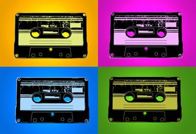 Audio Cassette Tapes Bright Pop Art Print Poster