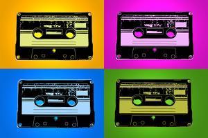 Audio Cassette Tapes Bright Pop Art Print Poster